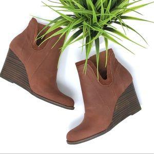 Lucky Brand Yenata leather wedge  booties